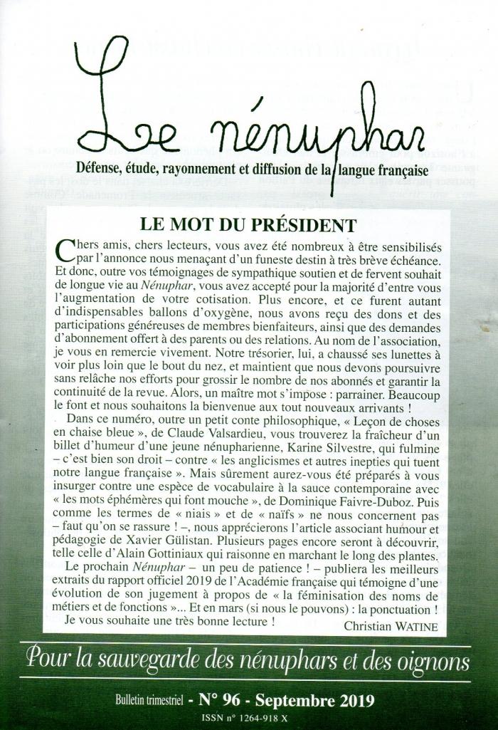 nenuphar,langue française,défense